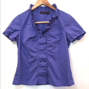 The Limited Blue Ruffle Button Up Top Small